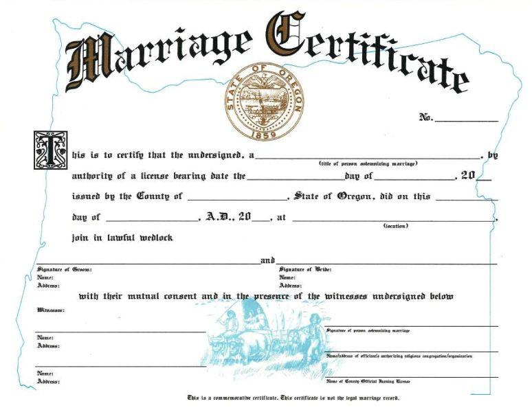 Marriage License from a destination wedding