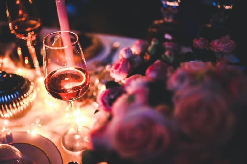 Romantic movie and wine